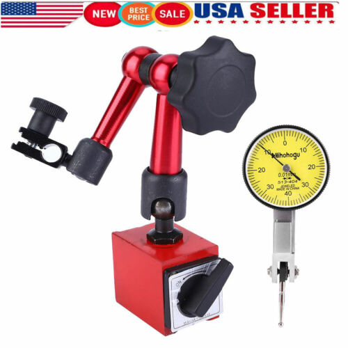 Flexible Magnetic Base Holder Stand w// White Dial Test Indicator Gauge Precision