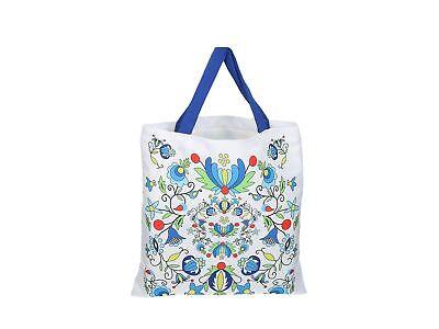 SHOPPER FOLK BAG – KASHUBIAN PATTERNS – WHITE Flowers Polyester