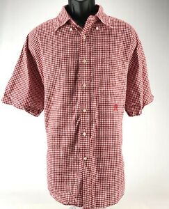 Tommy-Hilfiger-Men-039-s-Cotton-Linen-Short-Sleeve-Button-Down-Shirt-Red-White-XL