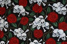 Alexander Henry 2001 Skulls Red Roses Barbed Wire Fabric By the yard