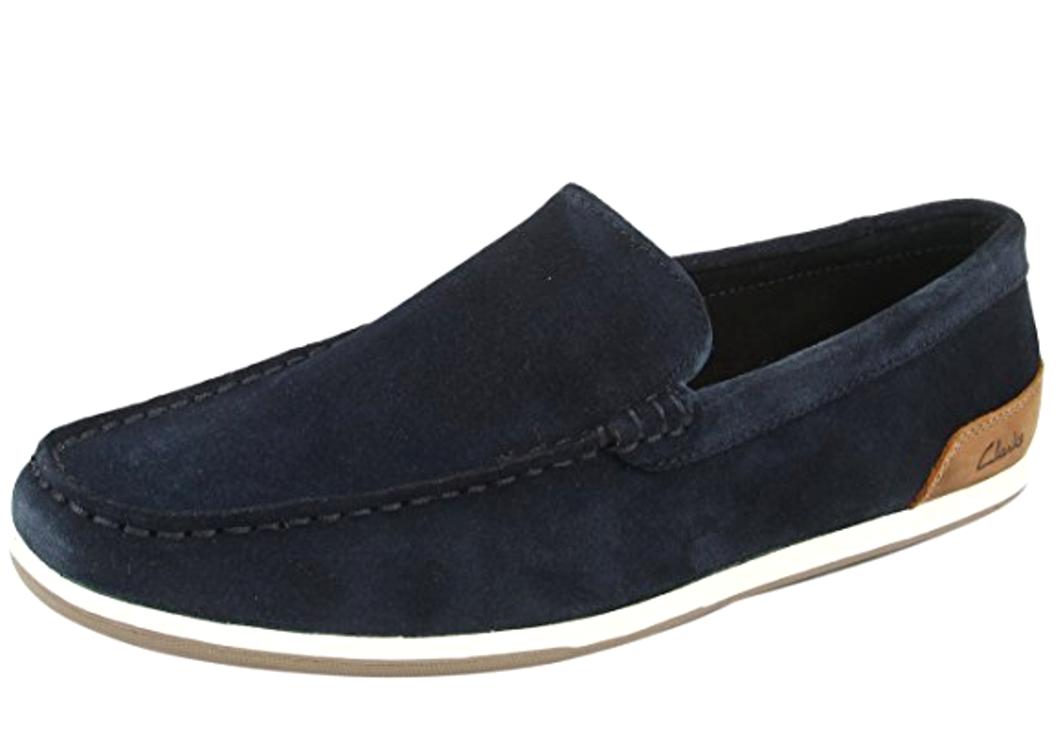 Clarks Medly Sun Mens UK 7G Medium Navy Blue Suede Loafer Moccasin Slip On Shoes