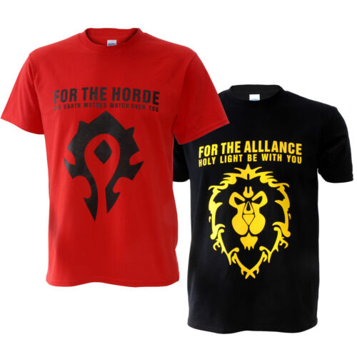 WOW World of Warcraft The Horde // Alliance Distressed Male T-Shirt Tee  M-2XL