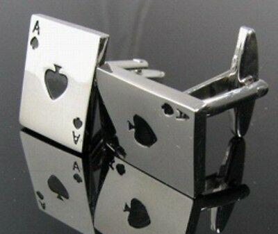 Herren Manschettenknoepfe Poker Karte Legierung Hemd Manschetten Knoepfe Rot kt