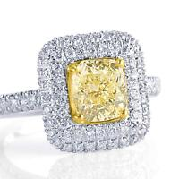 2.53 Ct Yellow Radiant Cut Diamond Double Halo Engagement Ring 18k White Gold