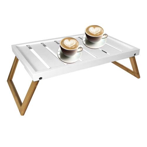 Frühstückstablett Serviertablett Betttisch Tablett klappbar Bambus Weiß