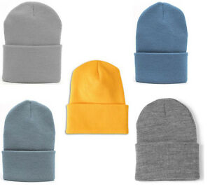 aadef945da8f9e 1 Dozen Wholesale lot Knit Cap Cuffed long Beanie Hat Hats watchcap ...