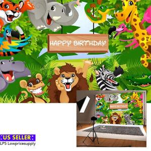 Zhy Cute Panda Background 5x7ft Jungle Safari Animal Theme Party Decoration Backdrop Studio Photo Booth Props MTTV030