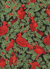 Christmas Cardinals Holiday Magic Black 1 Fat Quarter cotton quilt fabric sewing