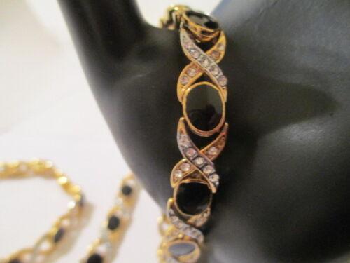 "8/"" Gold Plated Cubic Zirconia Black Enamel Bracelet Hugs /& Kissess   OXCZ"