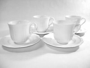 Details About Set Of Four Mikasa Porcelain Ultima Plus Antique White Cups And Saucers Cly