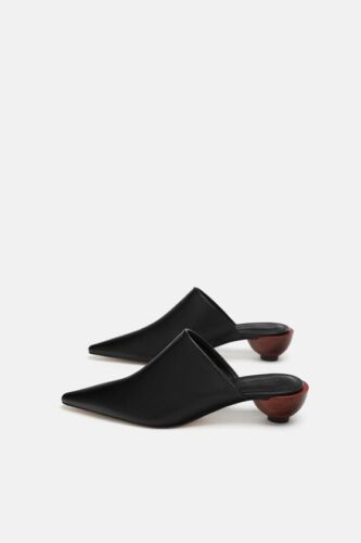 Details about  /Zara AW18 Woman Leather Rounded Wood Heel Mules Shoes Size Ref 5223//301 NWT