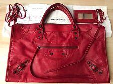 "RARE 100% Authentic BALENCIAGA RHW 2006 ""Rouge Vif"" Red Work Bag Purse Tote"