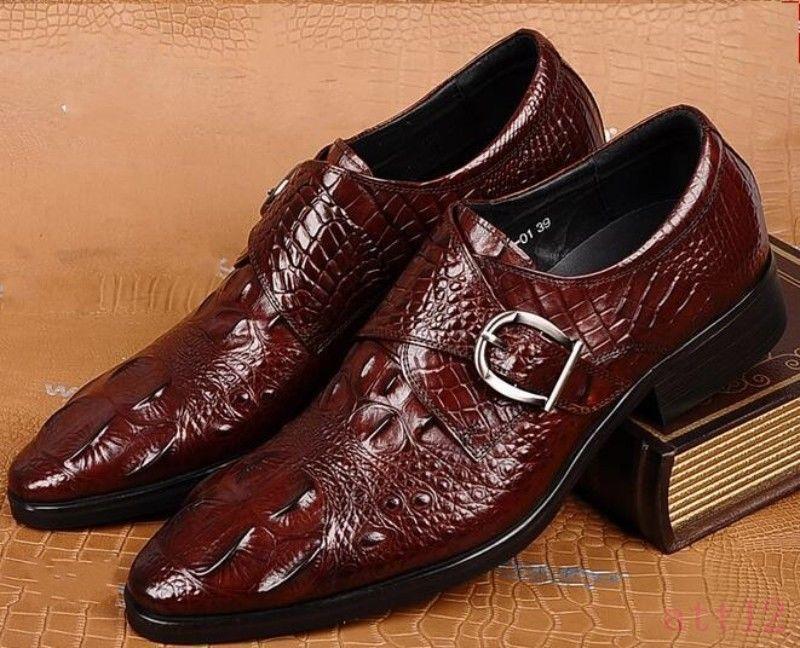 wholesape economico Mens Classic Shiny Leather Dress Dress Dress Business Buckle Alligator Pattern Formal scarpe  negozi al dettaglio