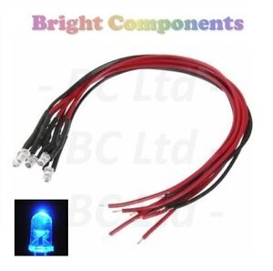 9V ~ 12V 1st CLASS POST 10 x Pre-Wired Blue LED 5mm Ultra Bright