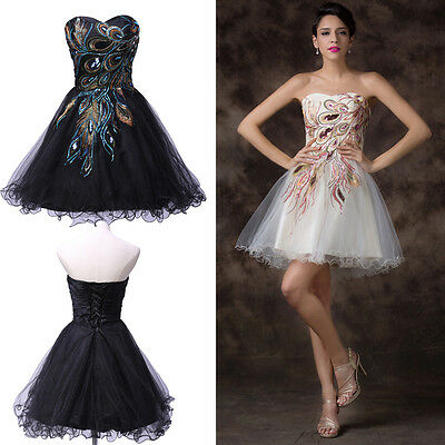 Black&White 2015 Peacock Short Mini Prom Dresses Party Evening Gown Prom Dress