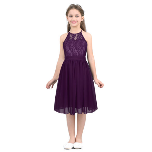 Princess Party Girls Long Dress Floral Kids Wedding Bridesmaid Formal Lace Gown