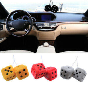 2-Premium-Large-Fuzzy-4-Clors-Sloid-Rearview-Mirror-Hang-Dice-for-Car-Truck-Auto