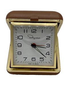 Vintage-INGRAHAM-Brazil-Wind-Up-Travel-Alarm-Clock-Brown-Case-Works