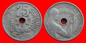 Impartial 25 Centimos 1934 Republica EspaÑola Ventes De L'Assurance Qualité