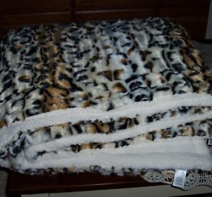 Fur Print Blanket 76 Quot X 86 Quot Faux Ocelot Throw New Ebay