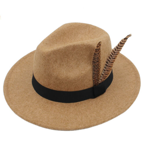 Men Women Wool Wide Brim Panama Hat Sombrero Cap Sunhat Fedora Trilby Jazz 7 1//4