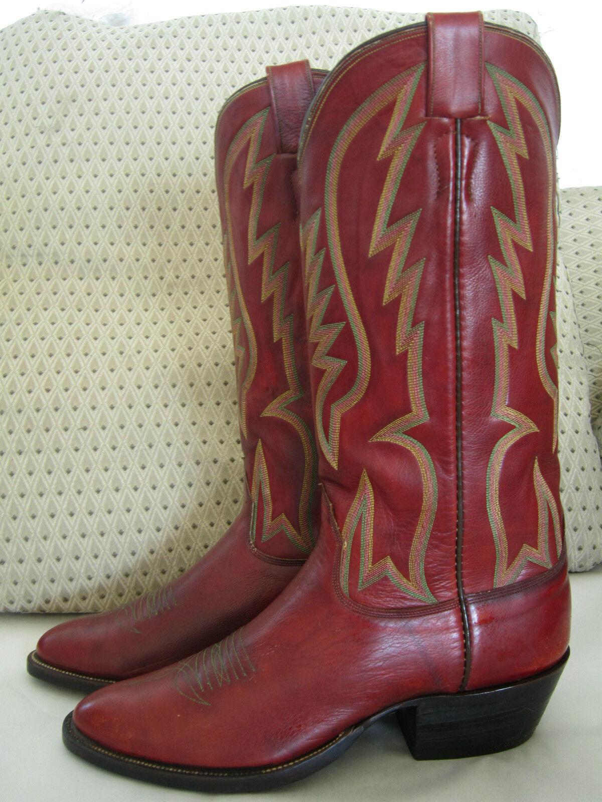 Rare Vintage OLSEN-STELZER Cowboy Stiefel ROT - Saddle ROT Stiefel color    sz 9 plus/minus 72b94d