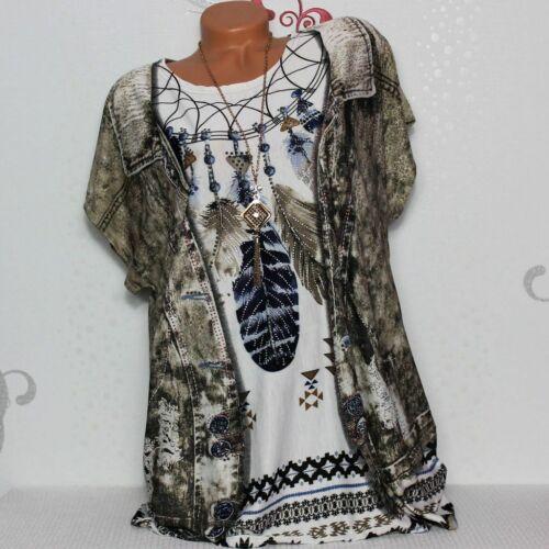 Damen T-Shirt Bluse Top Tunika Glitzer  2-in-1 Jeansjacken-Optik 44 46 48