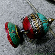 Buddhism Copper Silver Turquoise prayer wheel Mani wheel mani-chos-'khor #2975