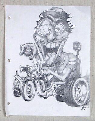 Signed Original Cartoon Hot Rod Pencil Drawing 8 ½ X 11