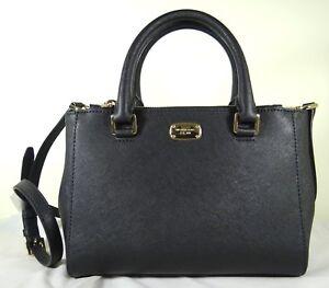 df1551338d Image is loading Michael-Kors-Kellen-Black-Leather-Xsmall-Satchel-Crossbody-