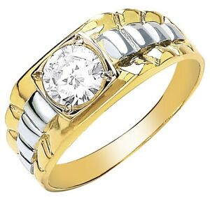 Men-039-s-9ct-Yellow-Gold-Square-Top-Cubic-Zirconia-Gents-Ring-UK-Jewellers