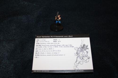 D/&D Miniatures Dragoneye Dwarf Barbarian 18//60 with card WOC 2003