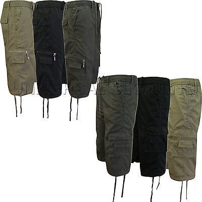 Mens Elasticated Plain Summer Cargo Combat 3/4 Shorts 6 Pockets 30-42 Cotton