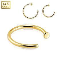 1pc. 20g.18g5/16, 3/8 14 Karat Solid Yellow Gold Nose Hoop Ring