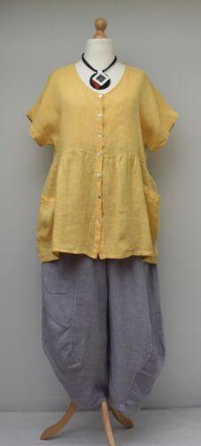 Lagenlook Leinen Übergröße A-Linie Lange Tunika//Shirt//Top **Gelb** Büste bis 50