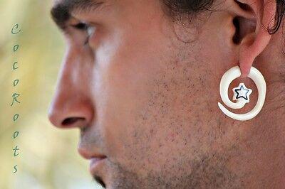 Handmade Fake Horn Ear Gauge Carved Inlay Earrings Body Piercing With Silver Bar