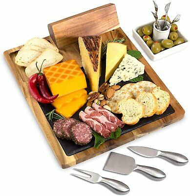 Bamboo Wood And Slate Cheese Board W 5 Piece Tool Set See Photos For New Design Ebay