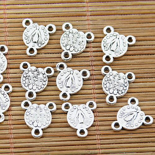 12pcs Tibetan silver tone floral hear crown connectors EF1309