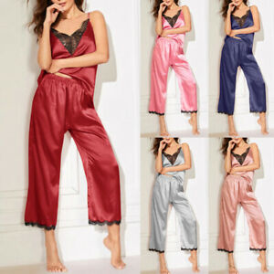 Women-Silk-Pyjamas-Sexy-V-Neck-Lace-Pajamas-Slim-Pure-Sleepwear-Wid-Leg-Pant-D-S