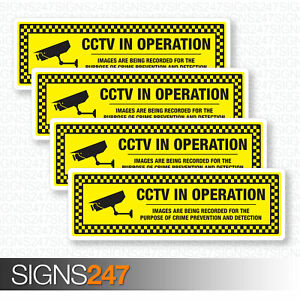 4-x-CCTV-STICKERS-CCTV-Images-Record-Self-Adhesive-Vinyl-Stickers-50mm-x-150mm