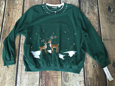 Alfred Dunner Plus Size Anti Pill Hunter Deer Chenille Christmas Sweater 1X