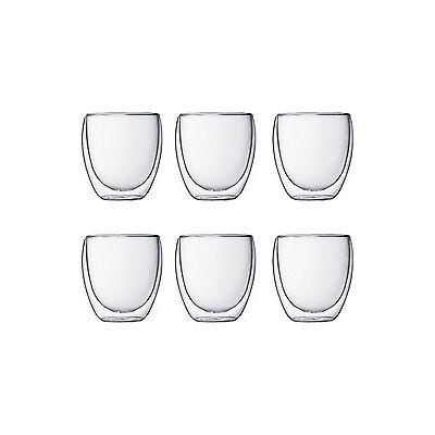 NEW Bodum Pavina Double Walled Glasses, 250ml - Set of 6 White