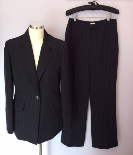 Suit Pinstripe Jacketamp; Pairs Trousers 10 Viyella Black 12 Size 2 Of 14 RAj54L
