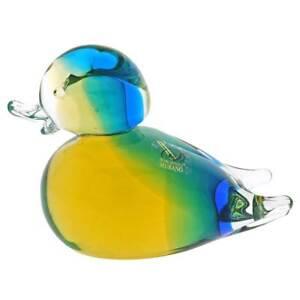 GlassOfVenice Murano Glass Duck - Amber Aqua