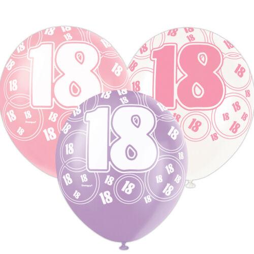 Assortiment de 6 Rose Glitz 18th Fête D/'Anniversaire Décoration Imprimé Latex Ballons