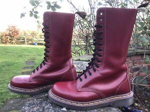 finest selection b7d23 8e3d9 Details about Dr Martens Doc Martens 14hole 1914 Cherry Red Skinhead Boots  UK 6 EU 40 England