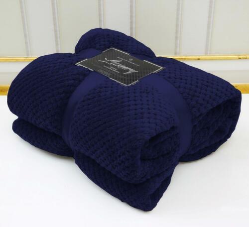 LUXURY POPCORN WAFFLE BLANKET FLEECE TRAVEL THROW SOFA BED WARM COSY BLANKET