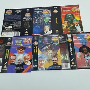 5x-Season-7-amp-8-Jon-Pertwee-Doctor-Who-UK-BBC-Video-VHS-Inlay-Cards-3rd-Dr