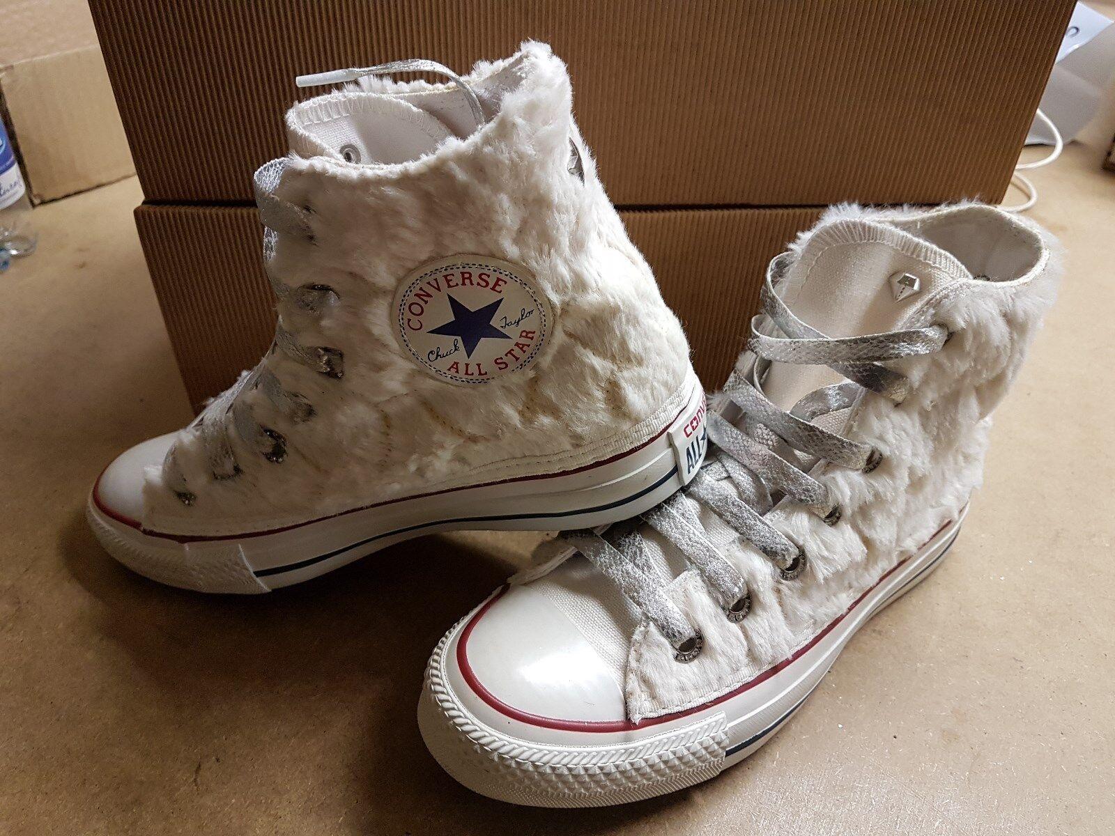 Converse all star Weiß con lacci  glitterati Silber e con pelo bianco ai lati