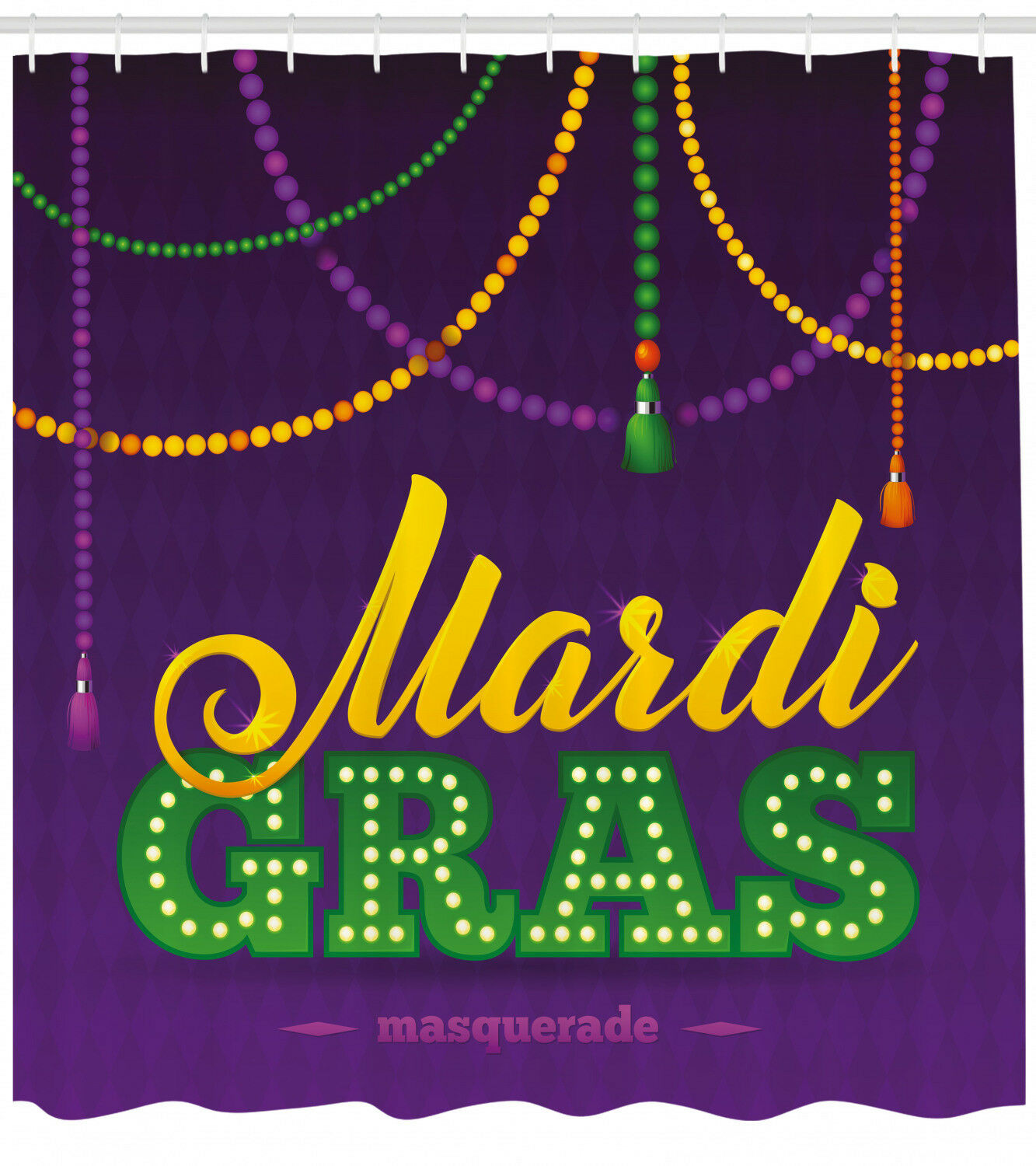 Mardi Gras Shower Curtain Vivid Beads Tassels Print For Bathroom C96b13